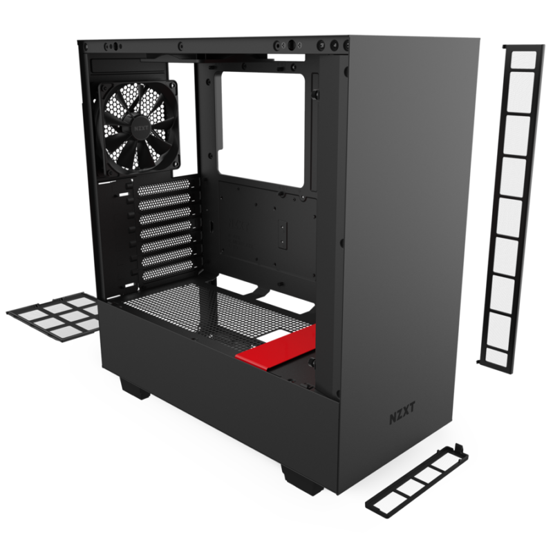 Nzxt H510 Compact Atx Mid Tower Pc Gaming Case Front I O Usb Type C Port Tempered Glass Side Panel Cable Management System Water Cooling Ready Steel Construction Red