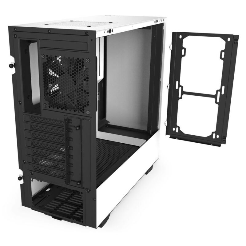 NZXT H510 - Compact ATX Mid-Tower PC Gaming Case - Front I/O USB Type-C  Port - Tempered Glass Side Panel - Cable Management System - Water-Cooling  Ready - Steel Construction - White-Black -